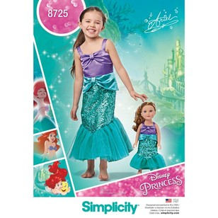 Simplicity Pattern 8725 Child's And 18-Inch Doll Costumes