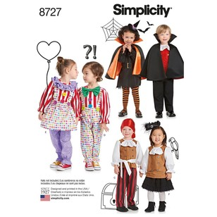 Simplicity Pattern 8727 Toddlers' Costumes