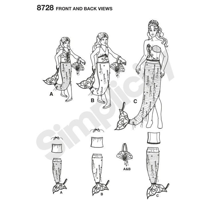 Simplicity Pattern 8728 Children's, Girls', And Misses' Costumes 10 - 22