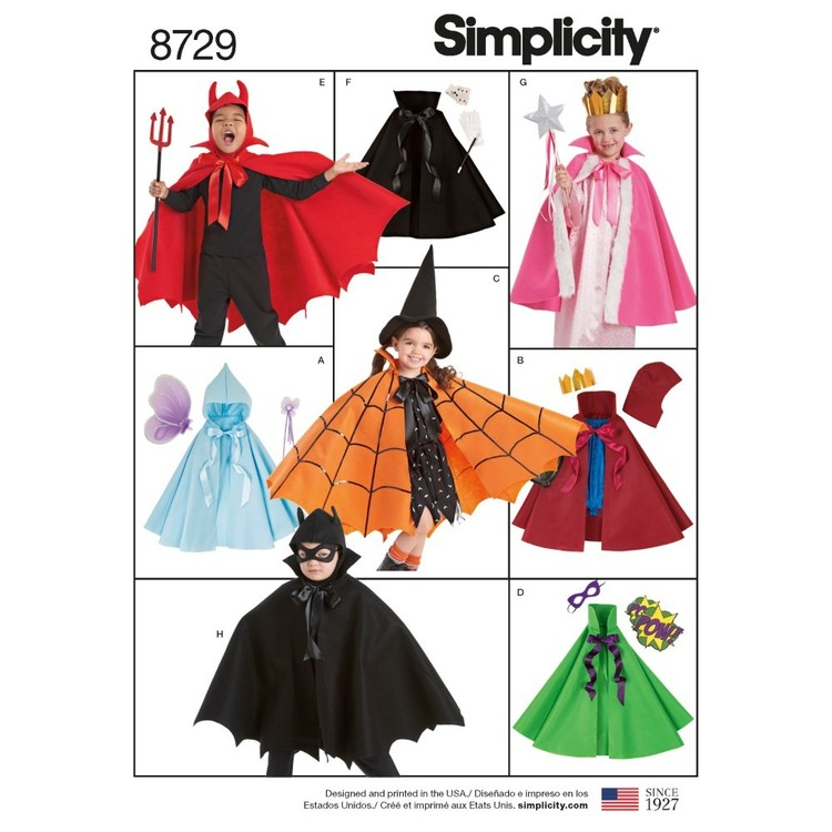 Simplicity Pattern 8729 Child's Cape Costumes