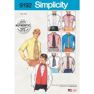 Simplicity Pattern 9192 Men's One-Size Accessories