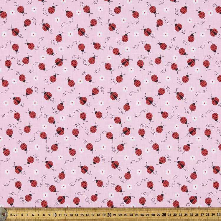 Mix N Match Ladybird Printed Polyster Cotton Fabric