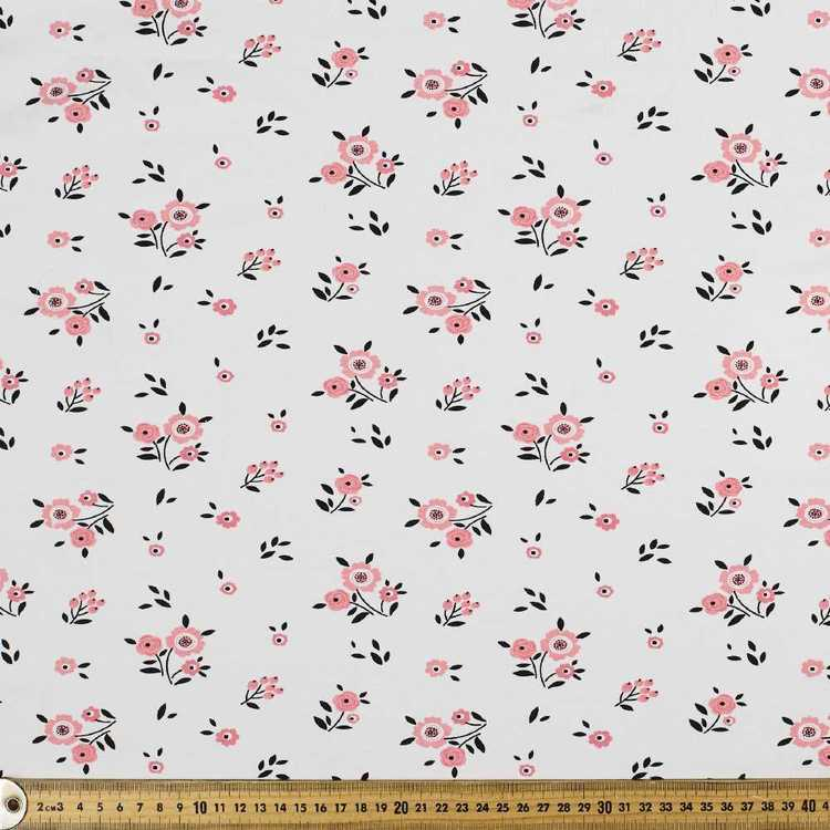 Rosy Red Printed 148 cm Cotton Sateen Fabric