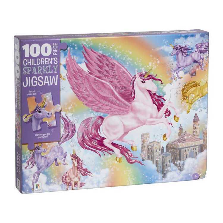 Hinkler Unicorn Kingdom Sparkly 100 Piece Jigsaw Puzzle