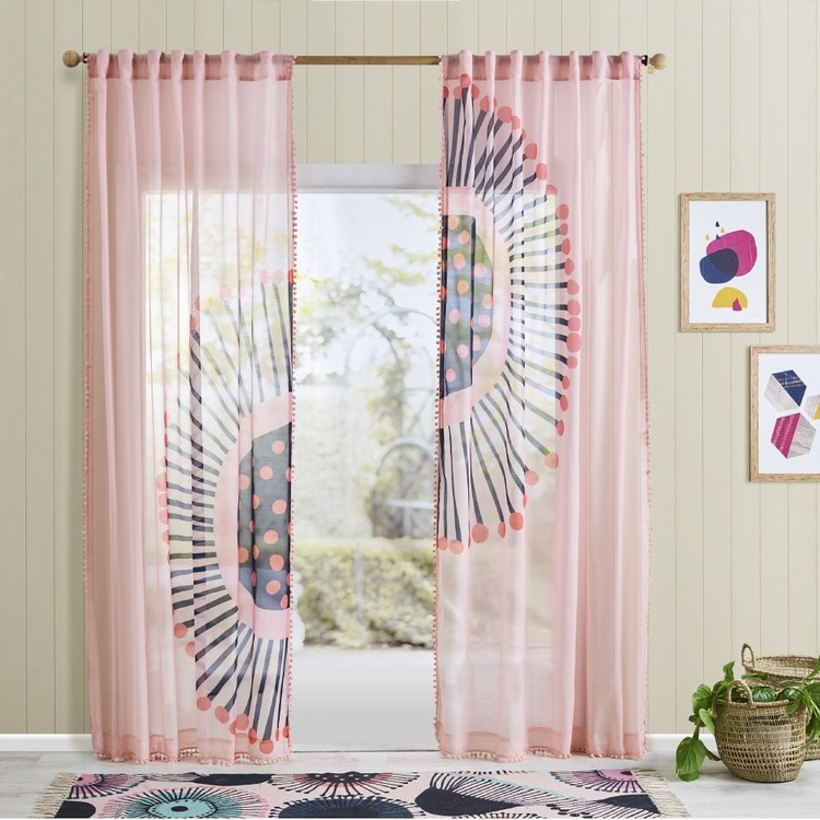 Jocelyn Proust Concealed Tab Top Sheer Curtain Pink 140 x 250 cm