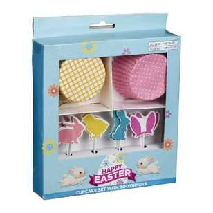 Daisy Chain Cupcake Set with Bunny Toothpicks