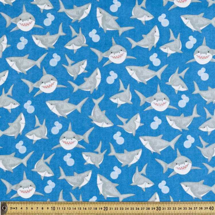 Sharks Printed Flannelette Fabric Blue 112 cm