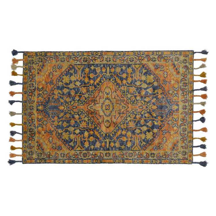 Luna Wool Rug Orange & Navy
