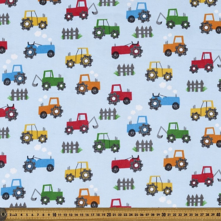 Big Wheels Printed Flannelette Fabric