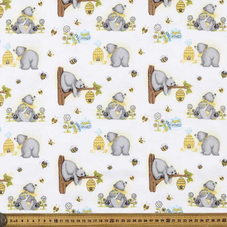 Honey Bear Printed Flannelette Fabric
