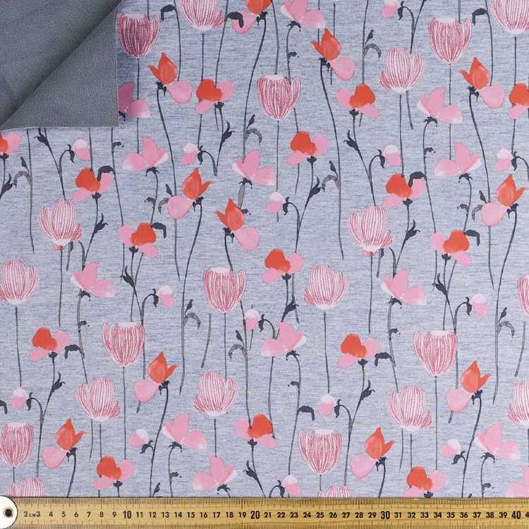 Pretty Floral Printed 144 cm Soft Shell Fleece Fabric