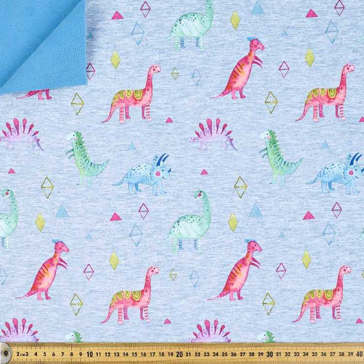 Rainbow Dino Printed 144 cm Soft Shell Fleece Fabric