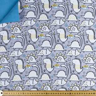 Comic Dino Printed 144 cm Soft Shell Fleece Fabric