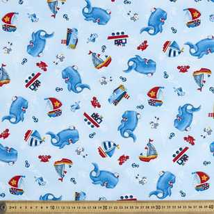 Studio E Whale Of A Time Whales Toss Cotton Fabric
