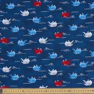 Studio E Whale Of A Time Ocean Whales Cotton Fabric