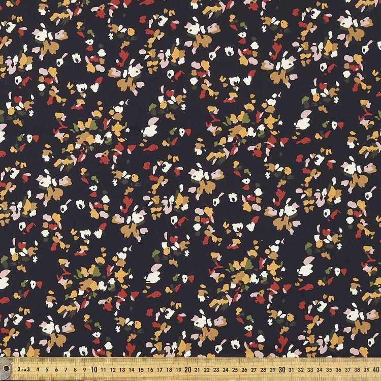 127 cm Patch Printed Cotton Sateen Fabric Black 127 cm