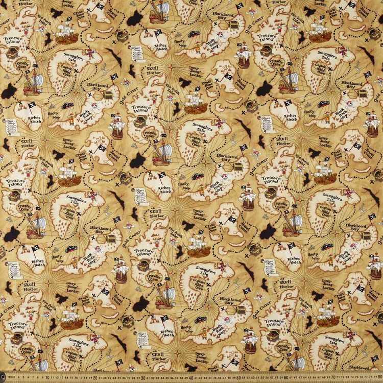 Timeless Treasures Treasure Map Cotton Fabric