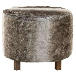 Bouclair Fur Statement Wolf Fur Ottoman