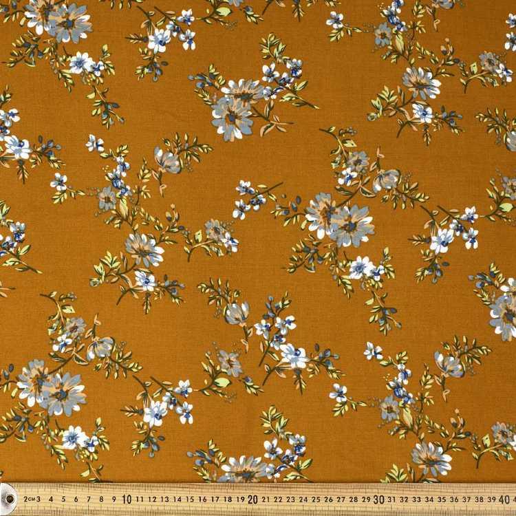Mustard Garden Printed Rayon Fabric