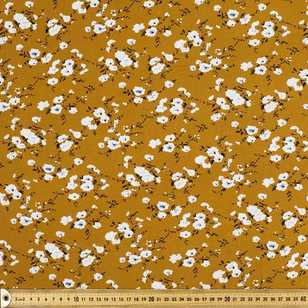 Mustard Floral Printed Rayon Fabric