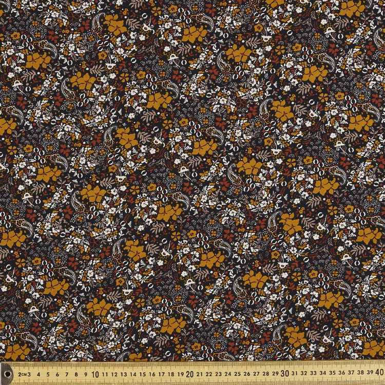 Floral Paisley Printed Rayon Fabric Black 135 cm