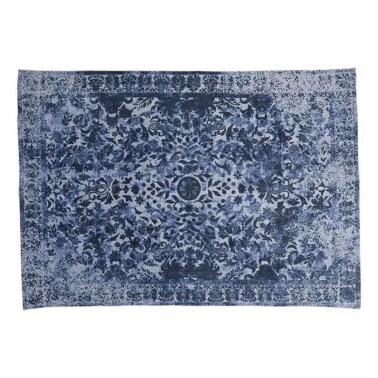 Spotlight Printed Cotton Distressed Rug Blue 130 X 180 Cm