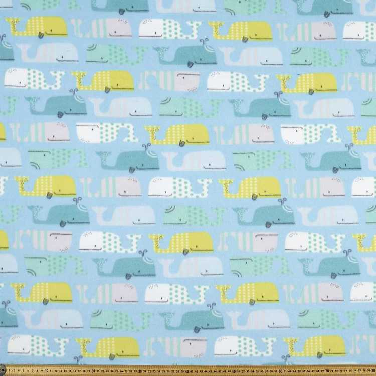 Whale Printed 148 Cm Nordic Fleece Fabric