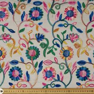 Bright Florals Embroidered Mesh 125 cm Fabric