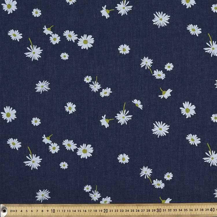 Daisies Printed Denim Fabric