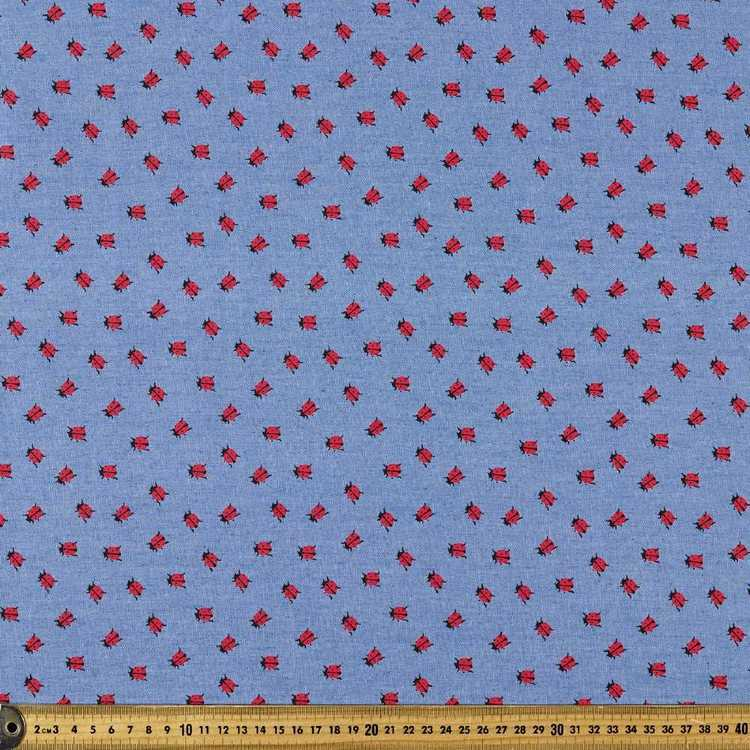 140 cm Lady Beetle Printed Denim Fabric