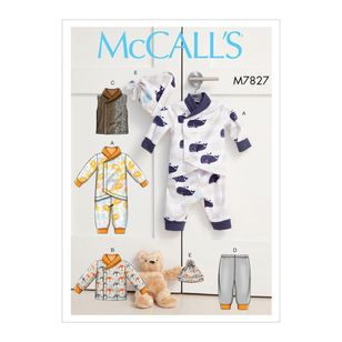 McCall's Pattern M7827 Infants Bunting, Jacket, Vest, Pants and Hat