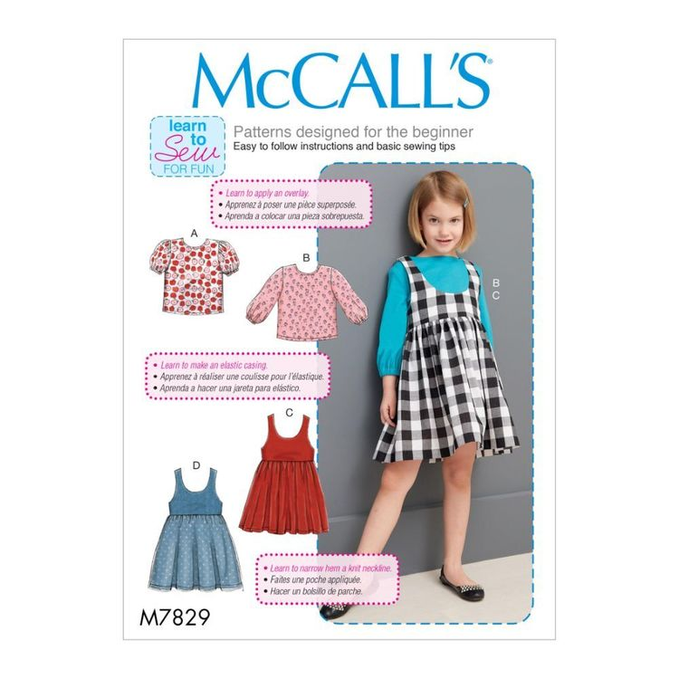 McCall's Pattern M7829 Learn To Sew For Fun Children's / Girls' Tops and Jumpers