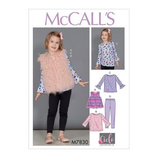 McCall's Pattern M7830 David Tutera Children's / Girls' Tunic Tops, Vest and Leggings