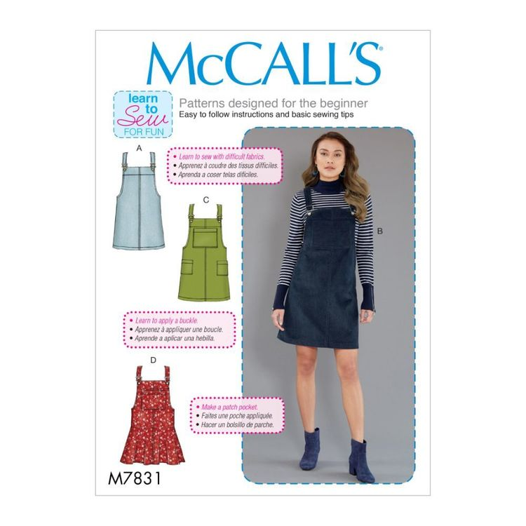 McCall's Pattern M7831 Learn To Sew For Fun Misses' Jumpers