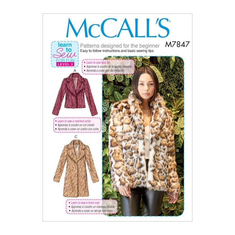 McCall's Pattern M7847 Learn To Sew For Fun Misses' Coats