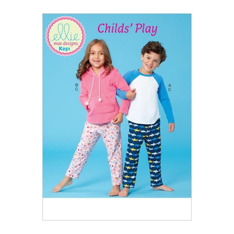 Kwik Sew Pattern K0251 Ellie Mae Designs Girl's And Boys Top And Pants