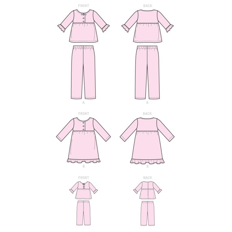 Kwik Sew Pattern K0250 Ellie Mae Designs Girls' Top, Dress, Pants And 18