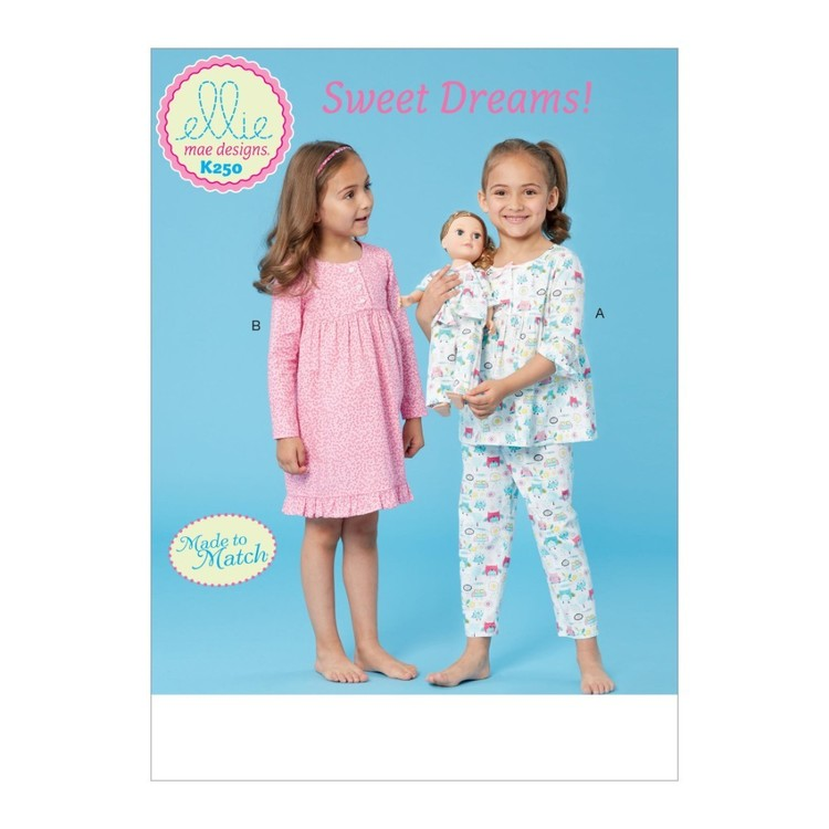 "Kwik Sew Pattern K0250 Ellie Mae Designs Girls' Top, Dress, Pants And 18"" Doll Clothes"