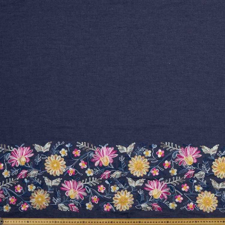 135 cm Floral Embroidered Denim Fabric