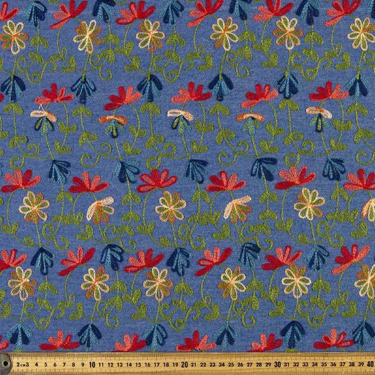 135 cm All Over Vines Embroidered Denim Fabric