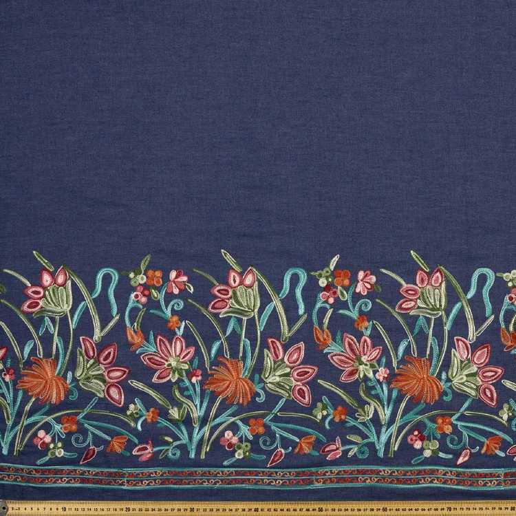 135 cm Stripe Border Embroidered Denim Fabric