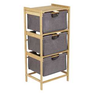 Living Space Bamboo 3 Draw Cabinet