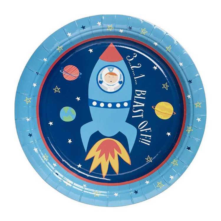 Spaceship Round Paper 23 CM Plate 6 Pack