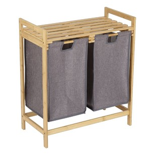Living Space Bamboo Double Laundry Hamper