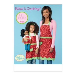 "Kwik Sew Pattern K0255 Ellie Mae Designs Misses', Girls' And 18"" Doll Aprons"