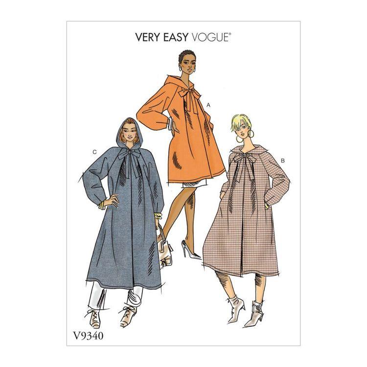 Vogue Pattern V9340 Very Easy Vogue Misses' Coat