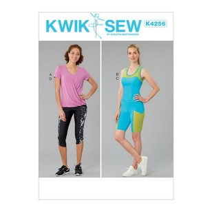 Kwik Sew Pattern K4256 Misses' Top, Tank, Shorts And Capris