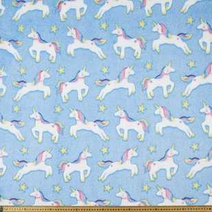 Unicorn Printed 147 cm Burnout Fleece Fabric
