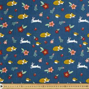 Sleepy Fox Printed 112 cm Pinwale Cord Fabric