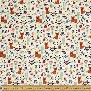 Shy Fox Printed 112 cm Pinwale Cord Fabric